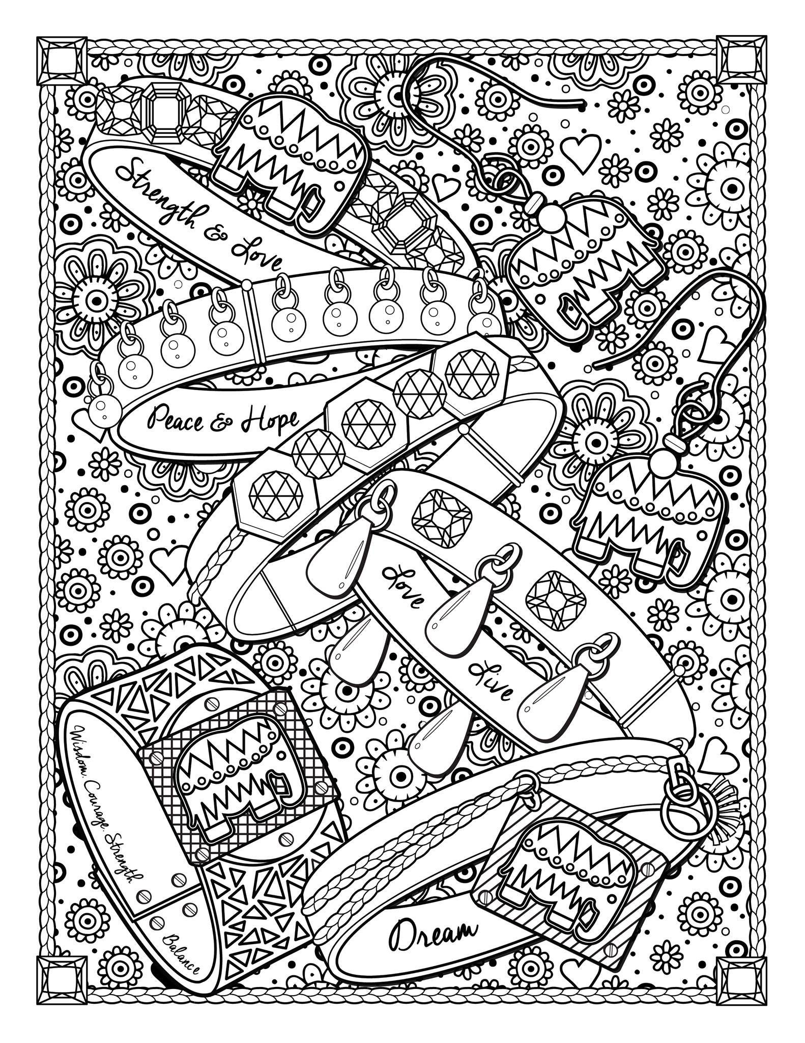 'Dream jewels' : A page from 'The Best Jewelry adult coloring book', available here