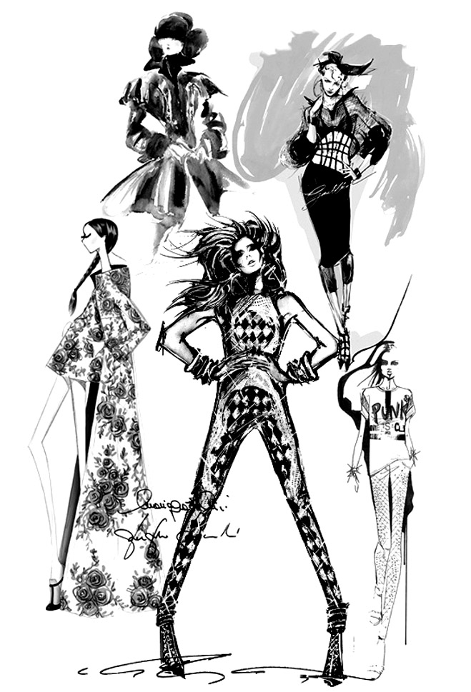 Fashion sketch : Olivier Balmain (2013)