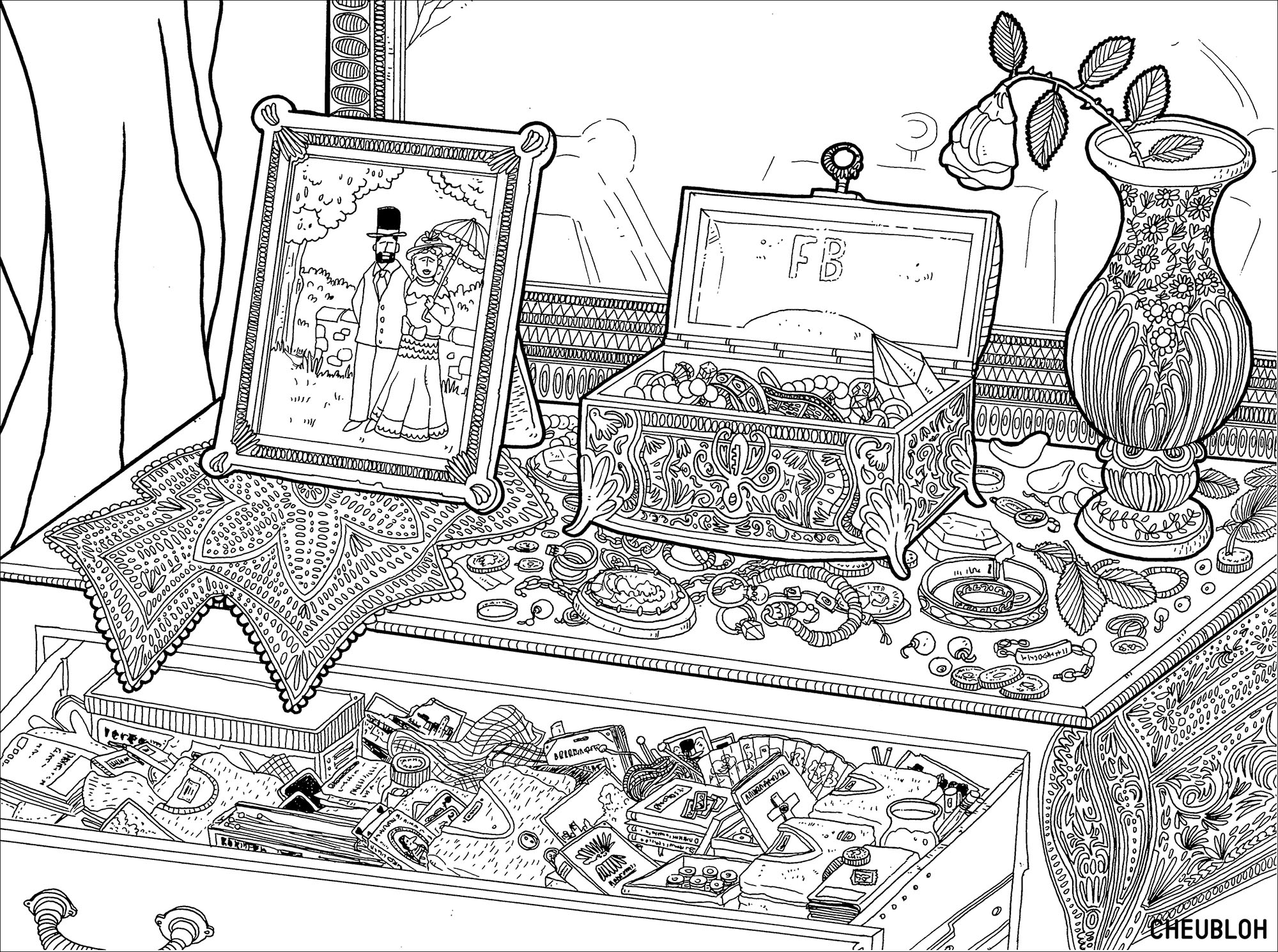 Jewlery coloring pages ~ Jewelry box - Fashion Adult Coloring Pages