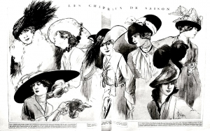 1915 fashion sketch with women's hats