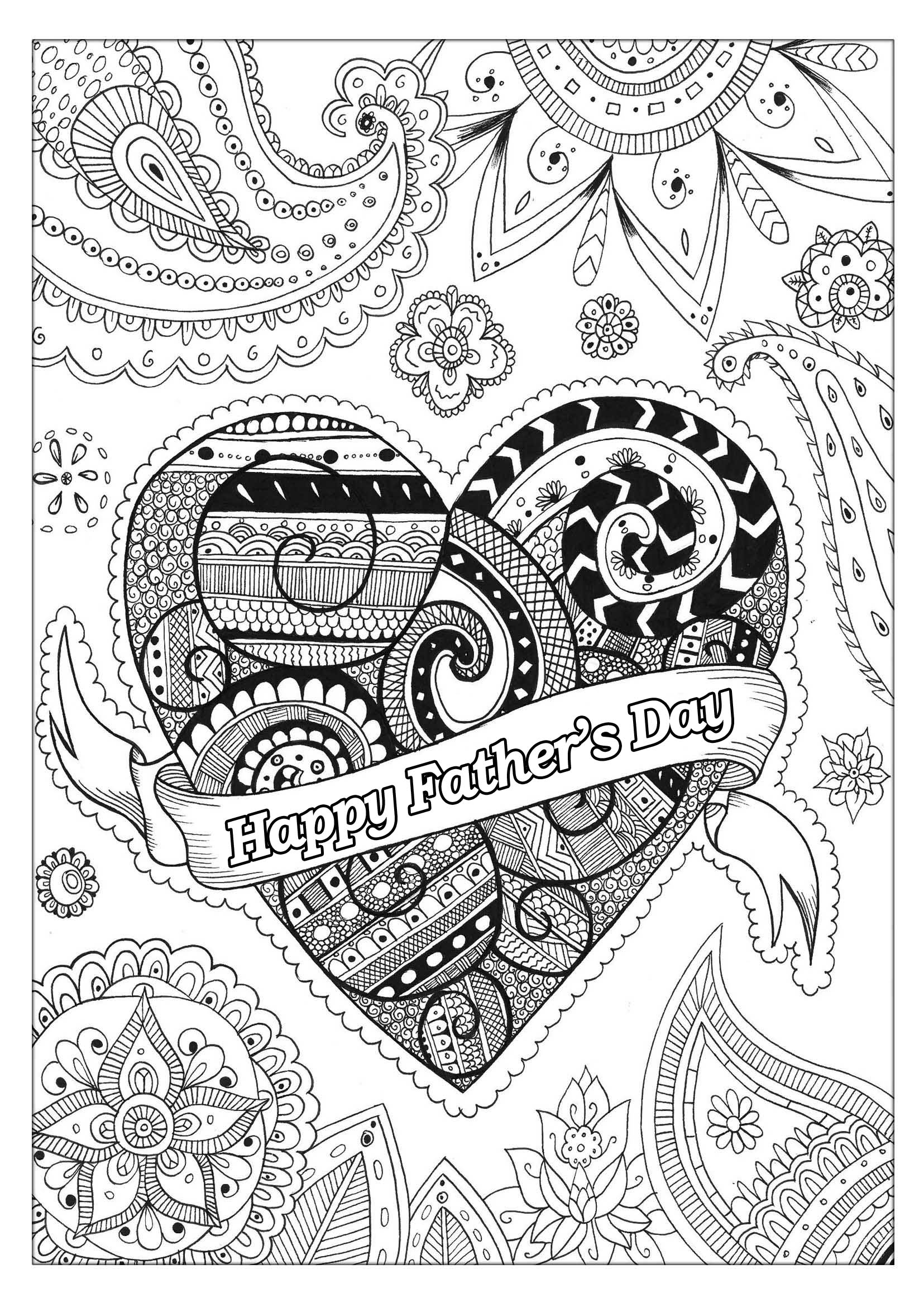 Father's day coloring page, with beautiful patterns