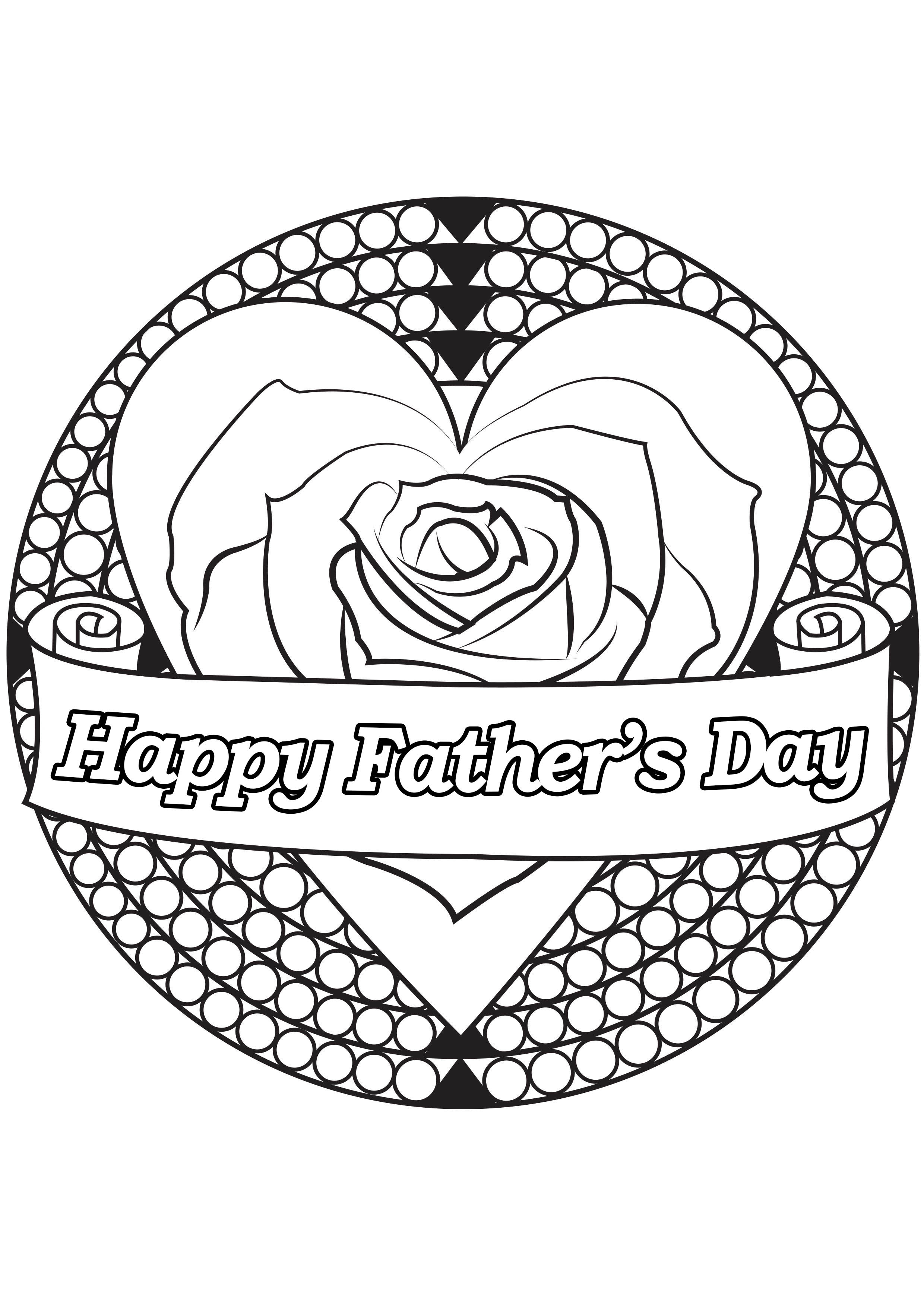 Father's day coloring page : heart & rose