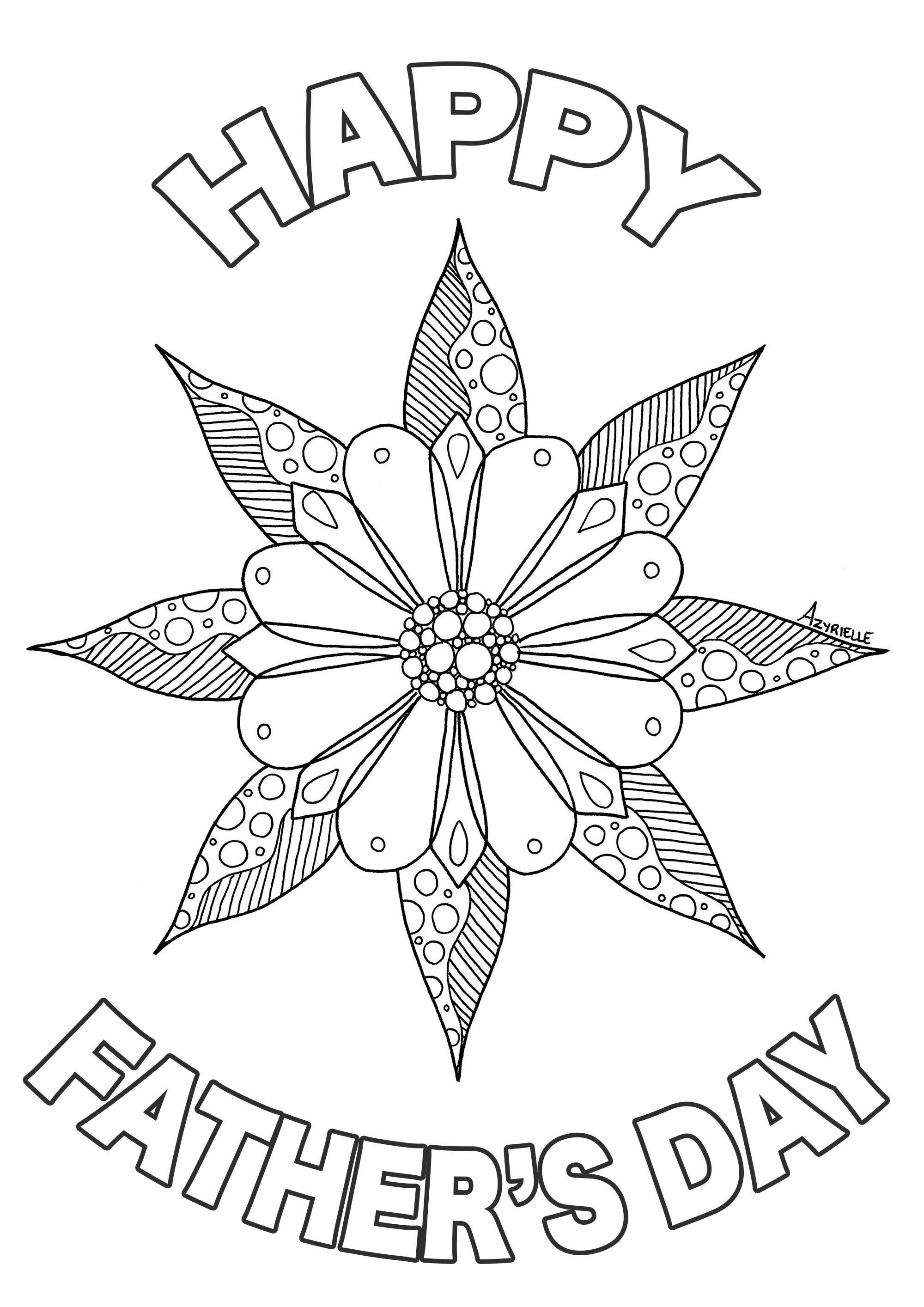 Father s day flower - Father\'s Day Adult Coloring Pages