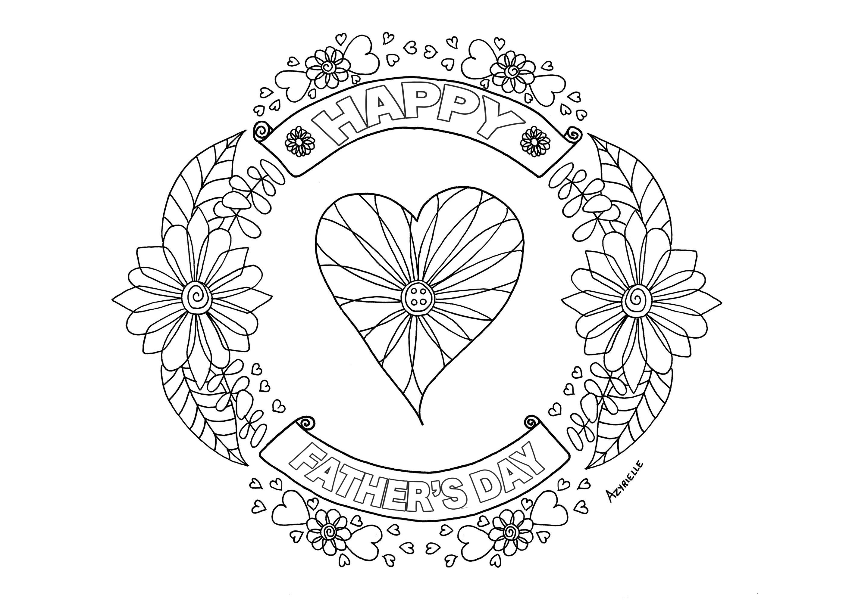 Happy Father's day coloring page : heart and flowered patterns