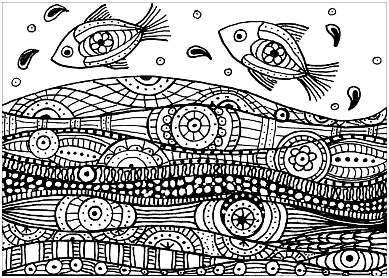 Fishes on the waves, drawing with simple zentangle patterns