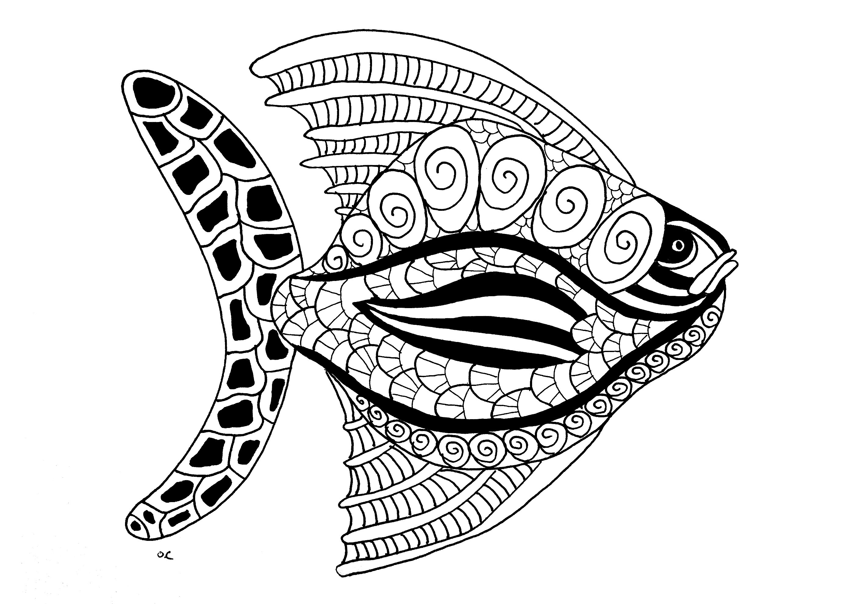 Fish zentangle step 2 - Fishes Adult Coloring Pages
