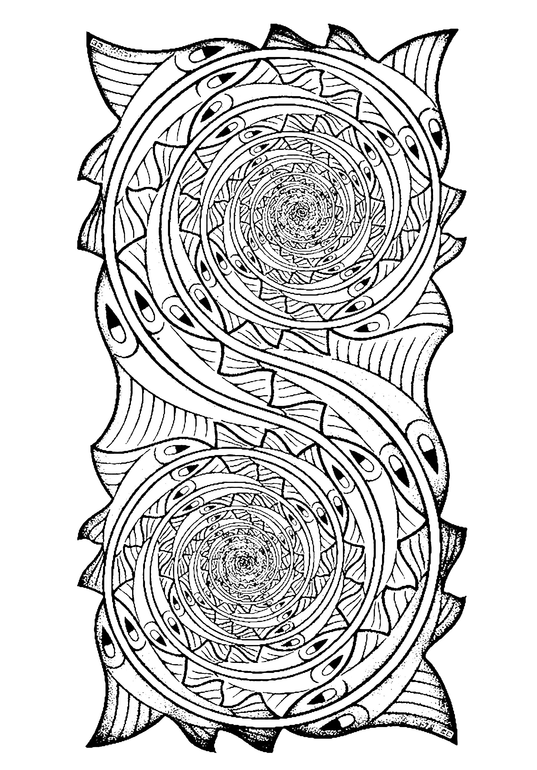 Fishes in a Whirlpool, a coloring page inspired by a M C Escher work of art