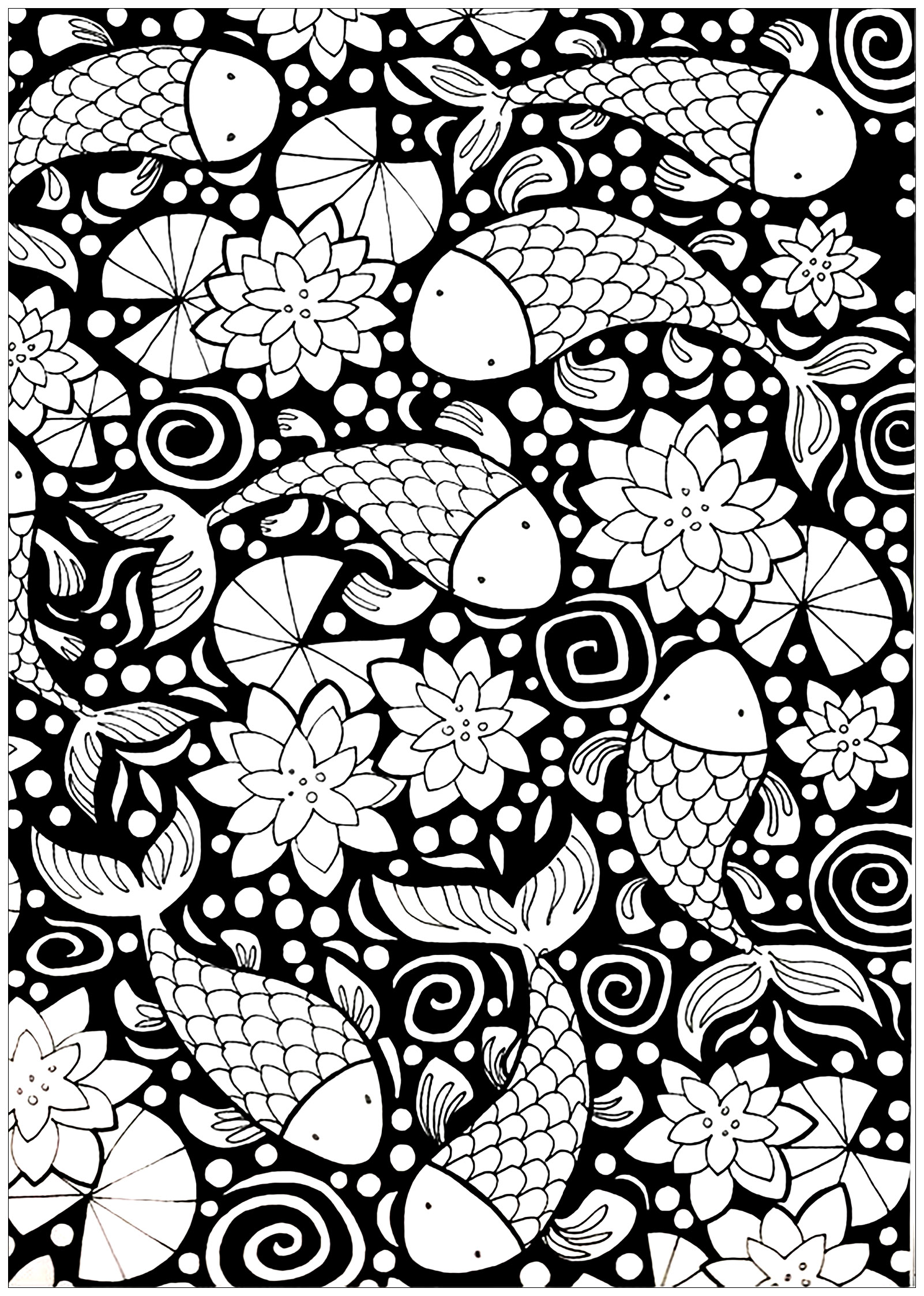 Fishes With Dark Background Fishes Adult Coloring Pages