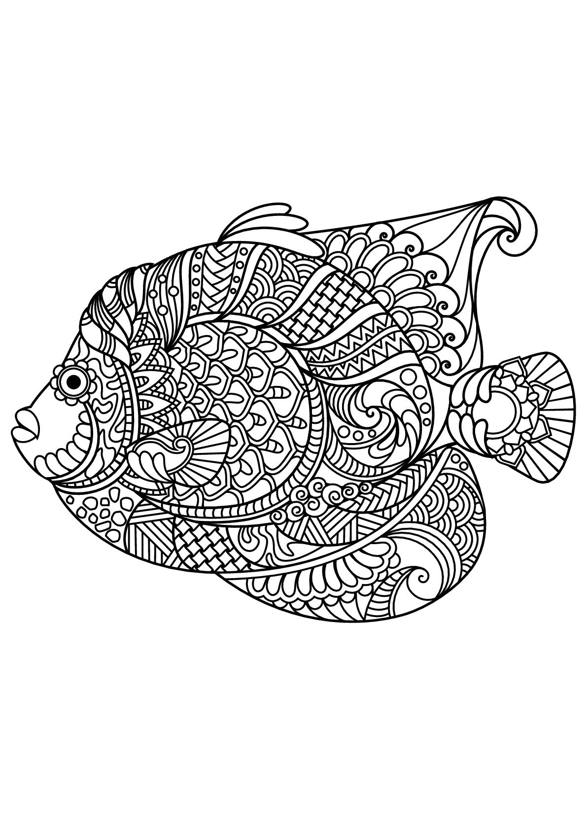 Free book fish Fishes Adult Coloring
