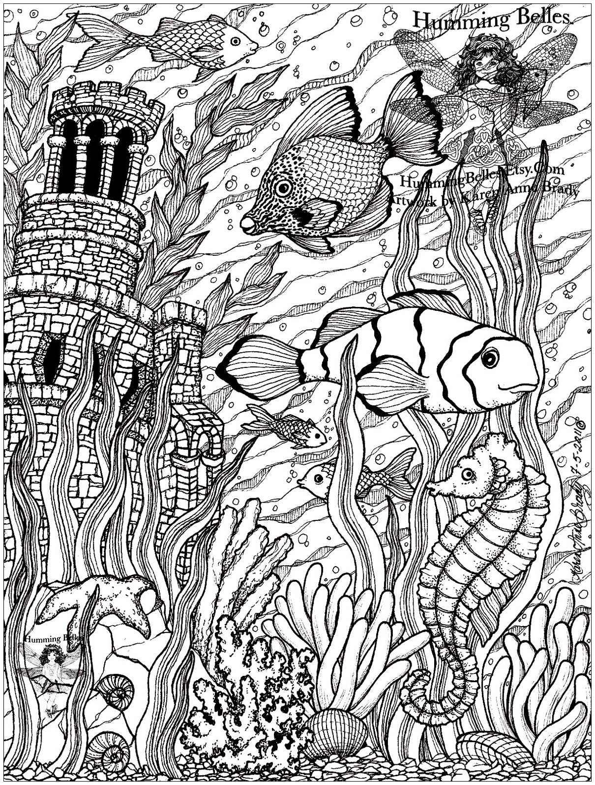 Poissons 5 Fishes Adult Coloring Pages