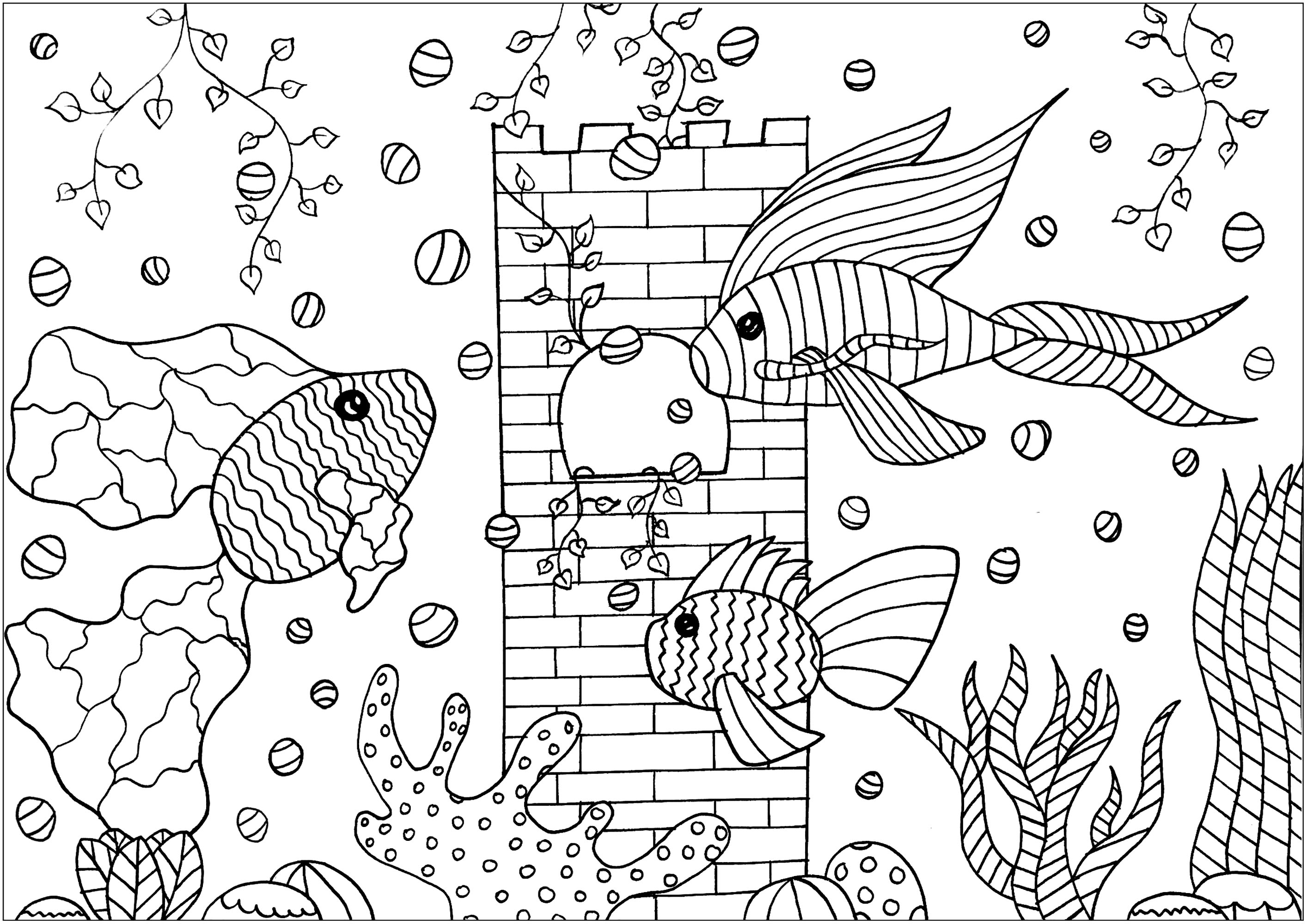 Three beautiful fishes with fins full of patterns, in an aquarium with a beautiful castle and aquatic plants
