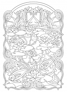coloring-adult-fish-pond