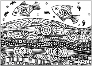 Coloring adult fishes wave patterns