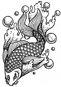 Coloring page fish and bubbles