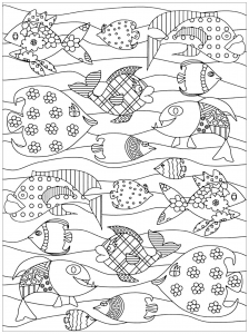Coloring page happy fishes