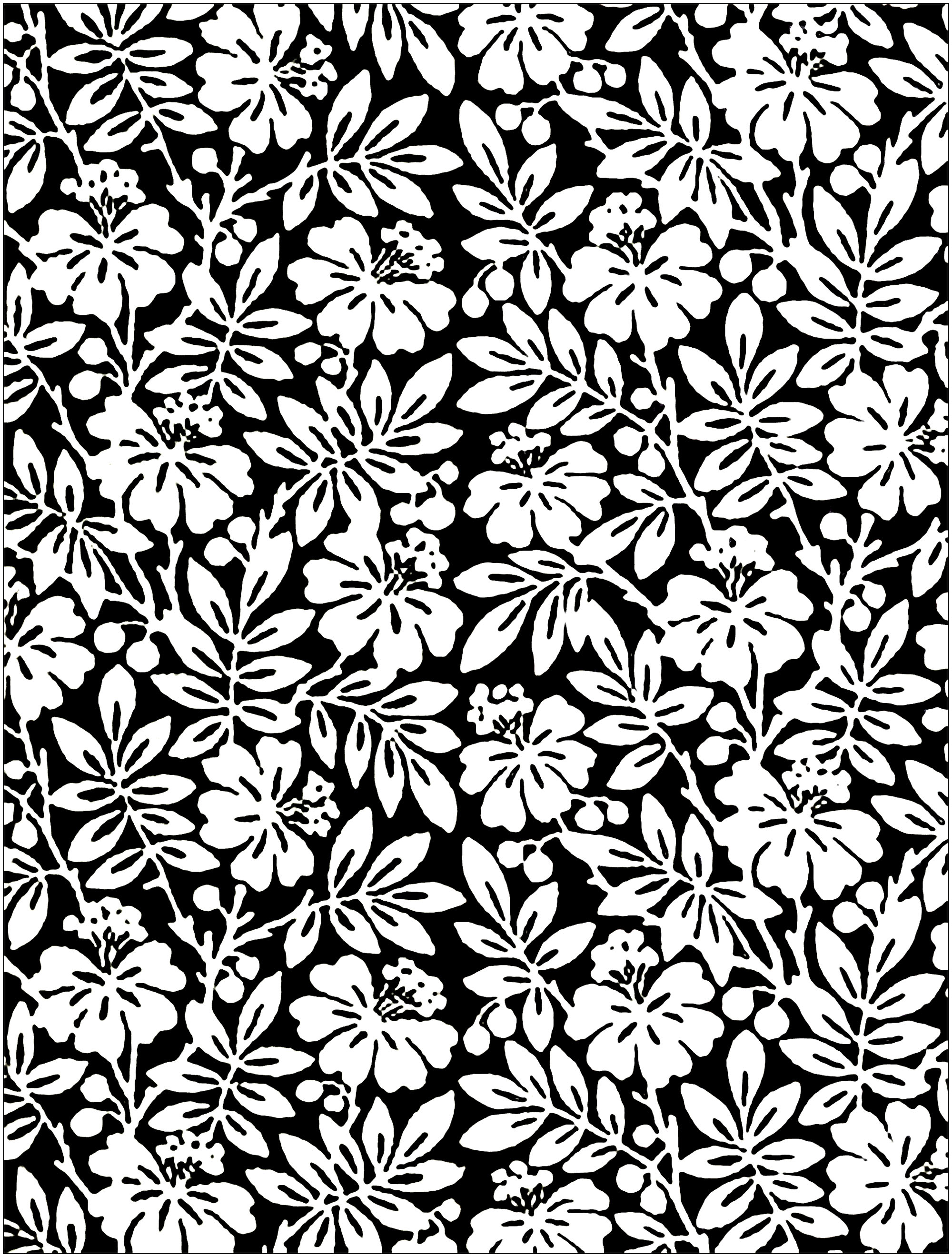 Coloring Black and white Flowers from English 19th Century Wallpaper
