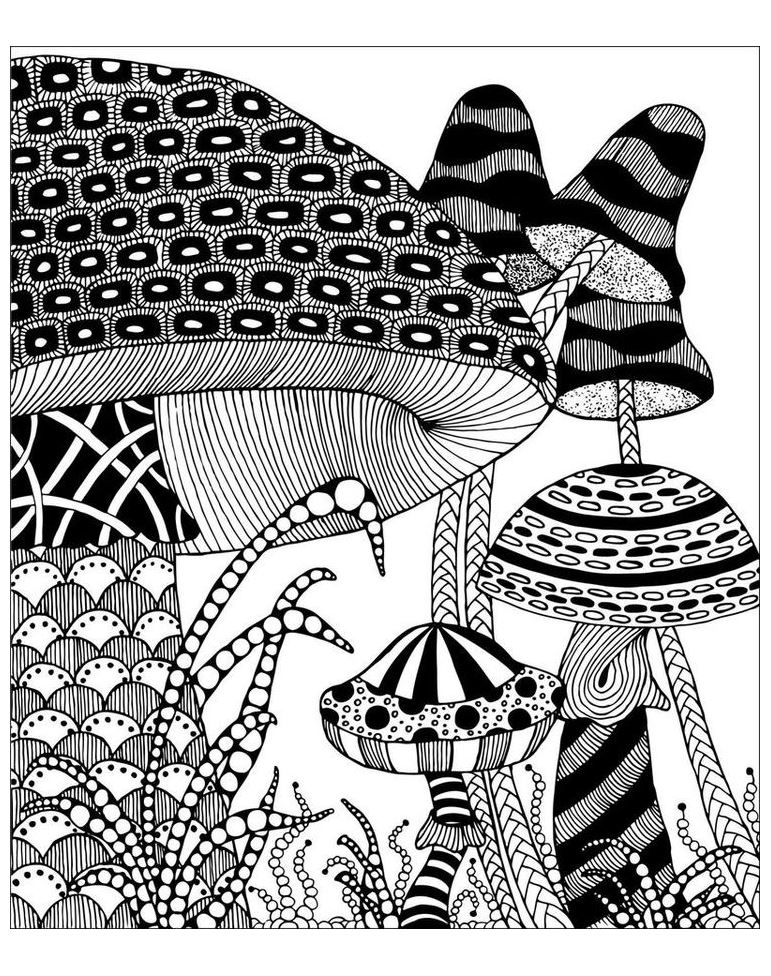 Zentangle mushrooms to color !