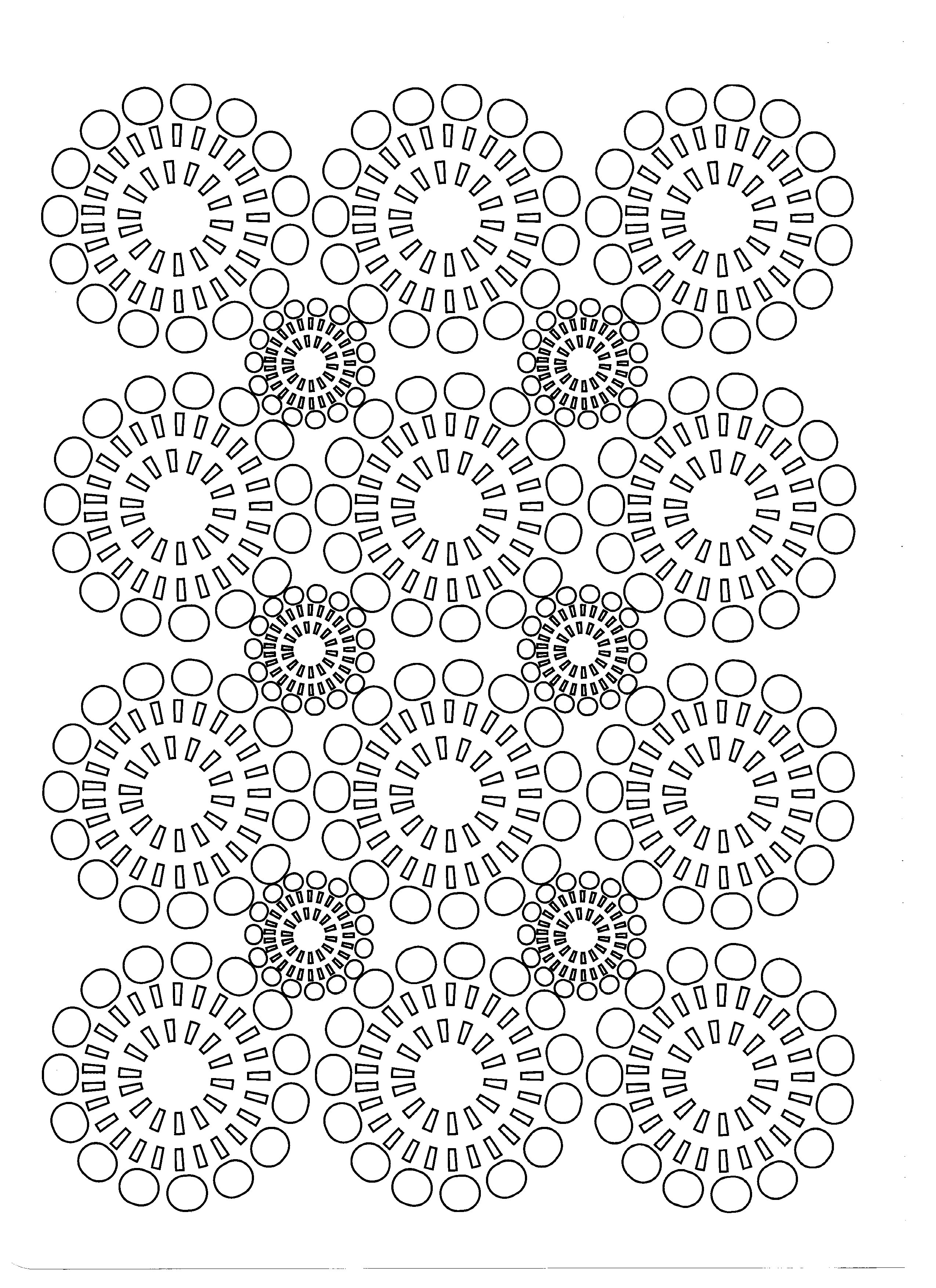 Flowers in regular circles