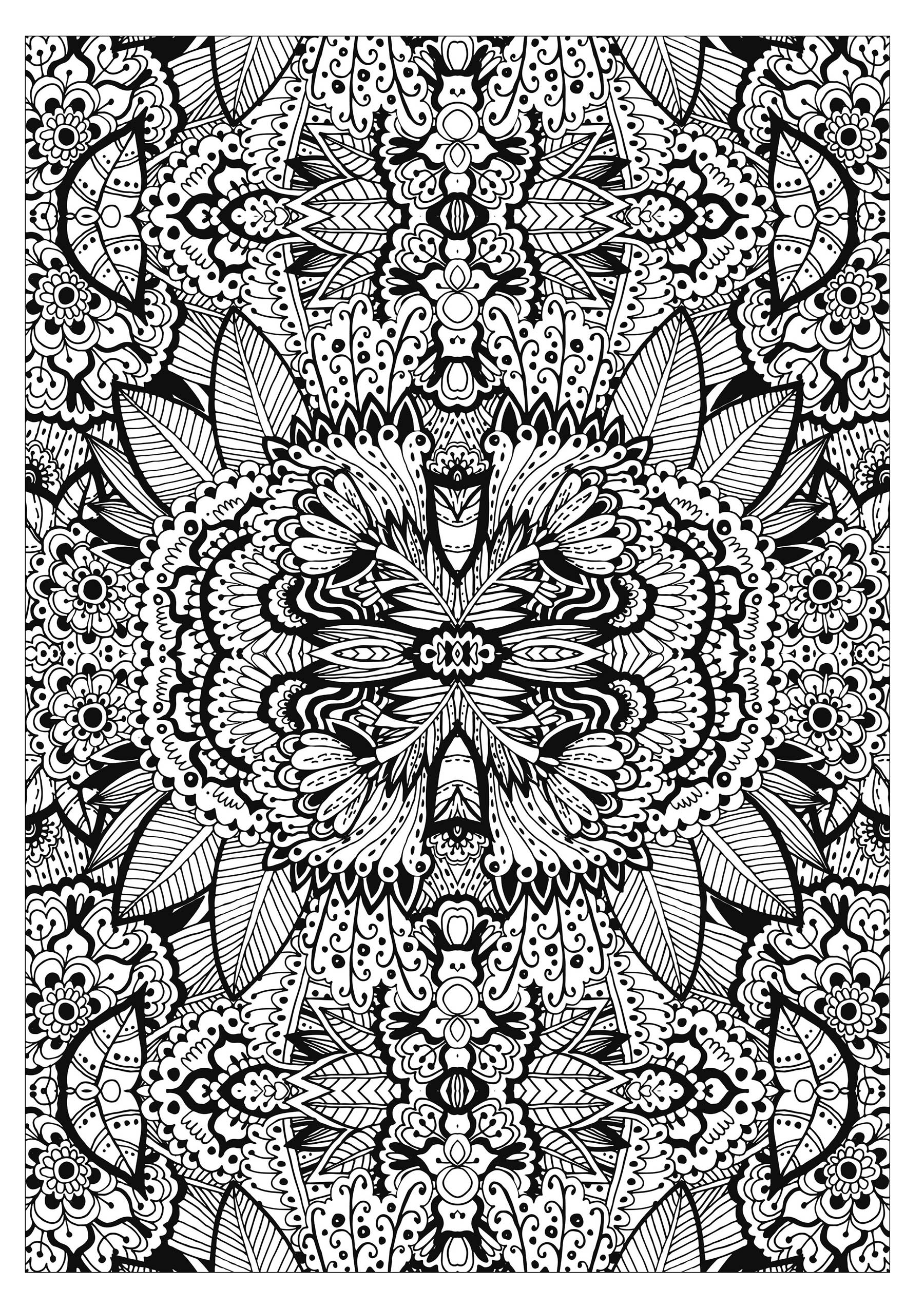Complex flower carpet - Flowers Adult Coloring Pages