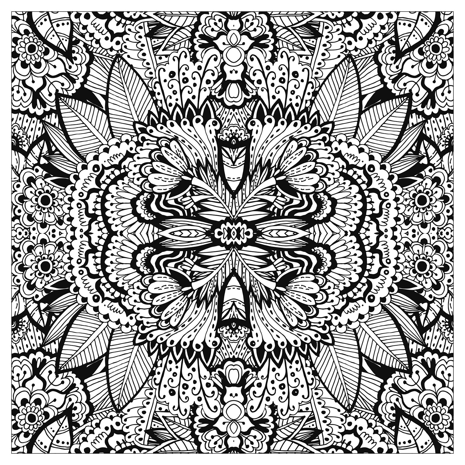 Complex flower carpet squared - Flowers Adult Coloring Pages