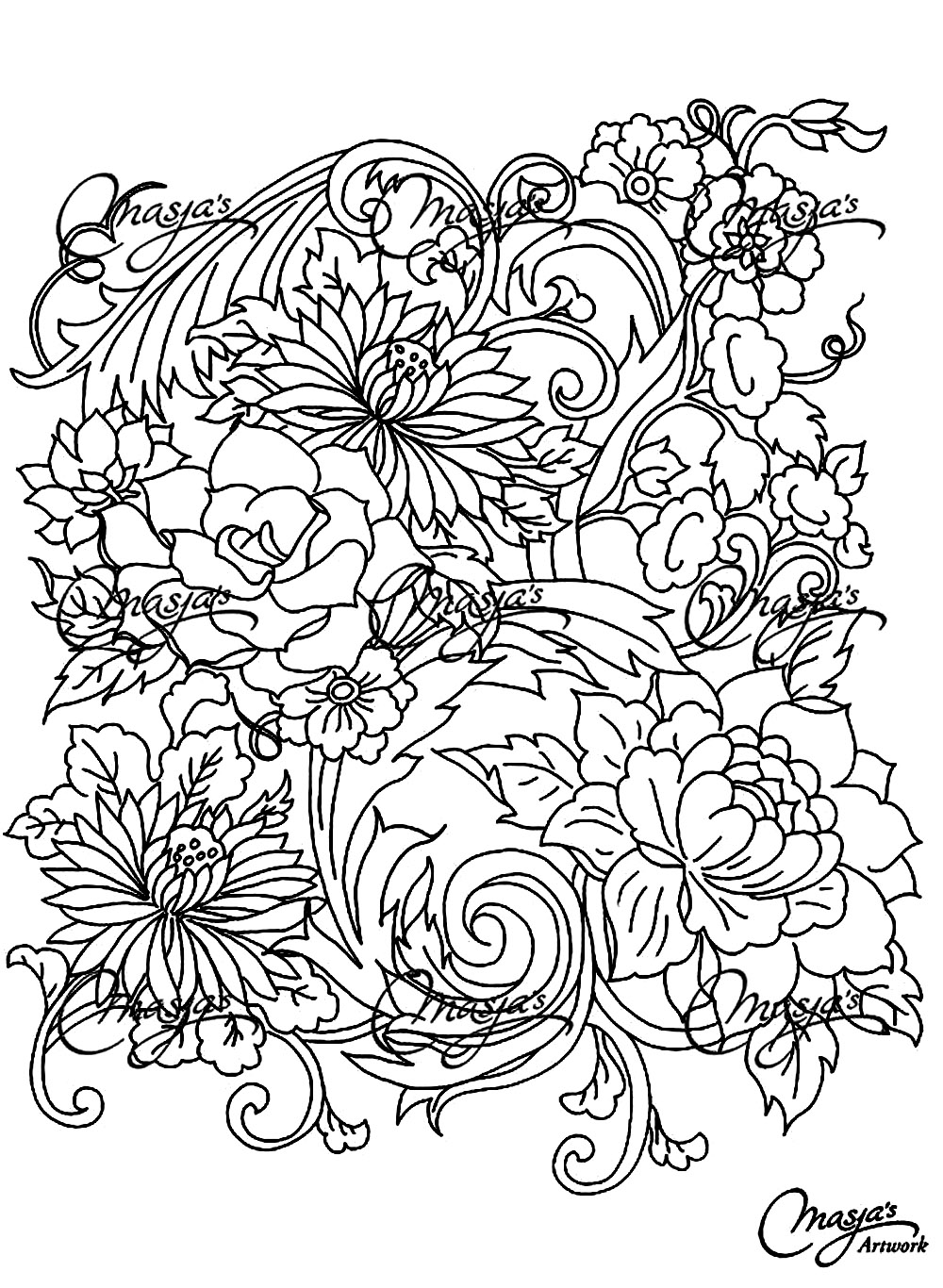 Drawing flower - Flowers & vegetation - Coloring pages for adults