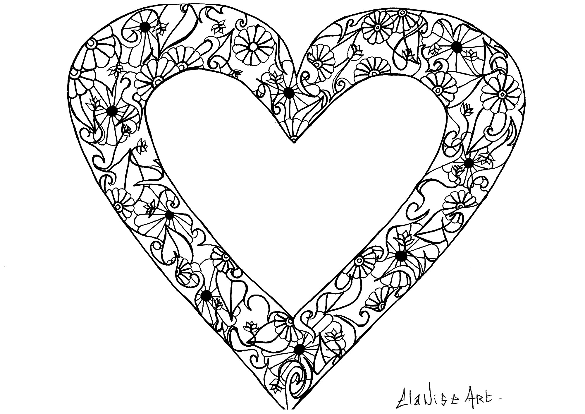 Cool drawing with an heart containing simple flowers and leaves