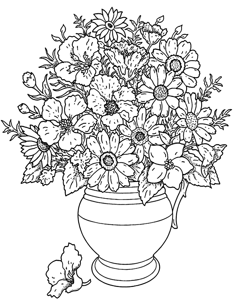 Bouquet of morning flowers flowers adult coloring pages for Flower adult coloring pages
