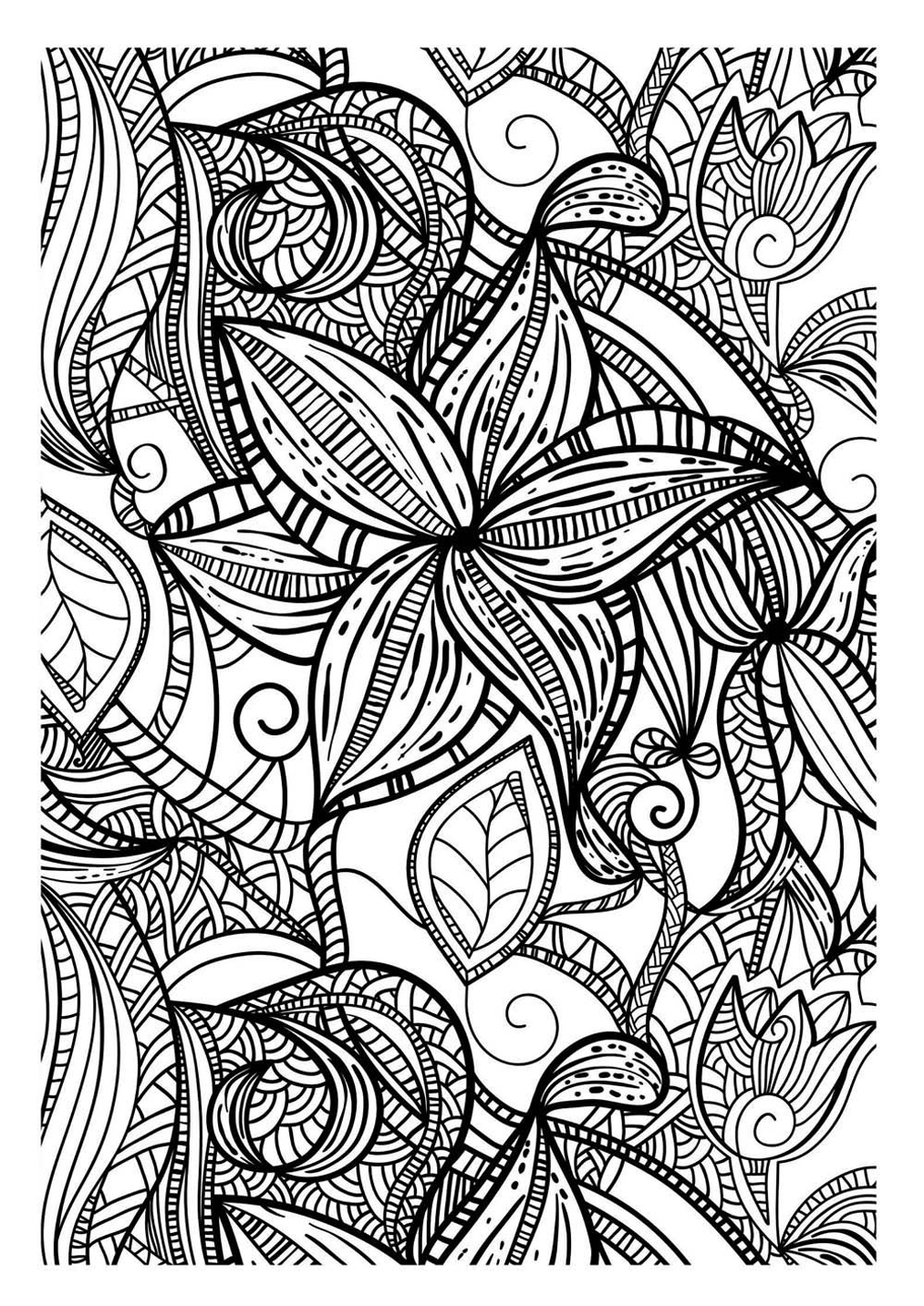 Abstract and elegant patterns inspired by flowers and leaves, with different thicknesses of lines.