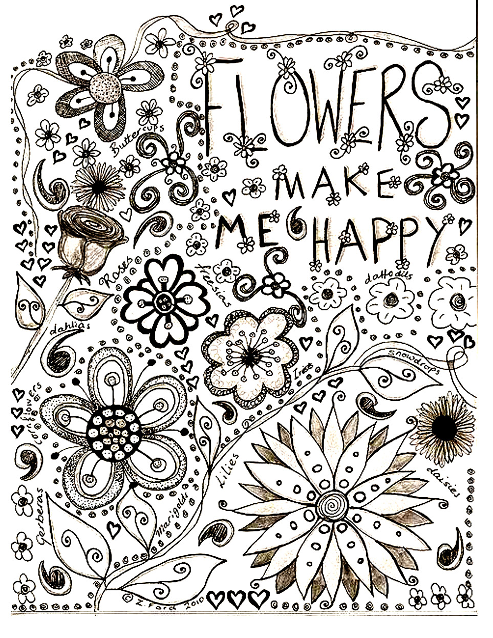 Flowers drawing flowers adult coloring pages - Dessin vegetation ...