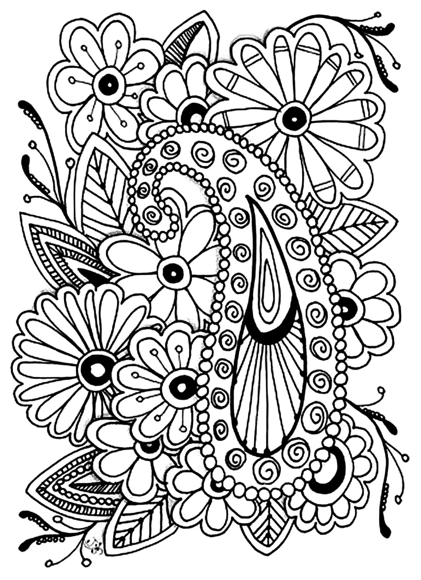 Flowers and paisley patterns Like this art? Download more of Jennifer Stay's adult coloring pages at coloringpagesbliss.com