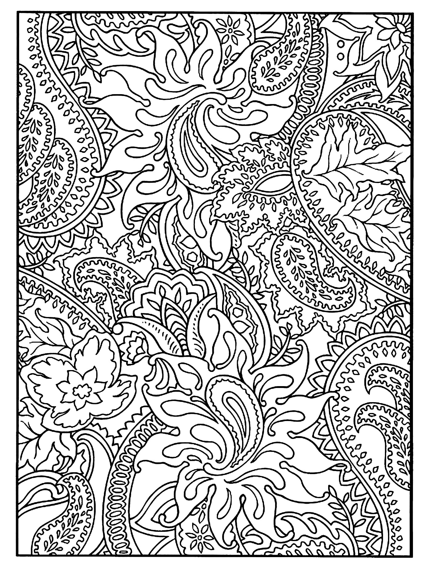Flowers and harmonious Paisley patterns to color