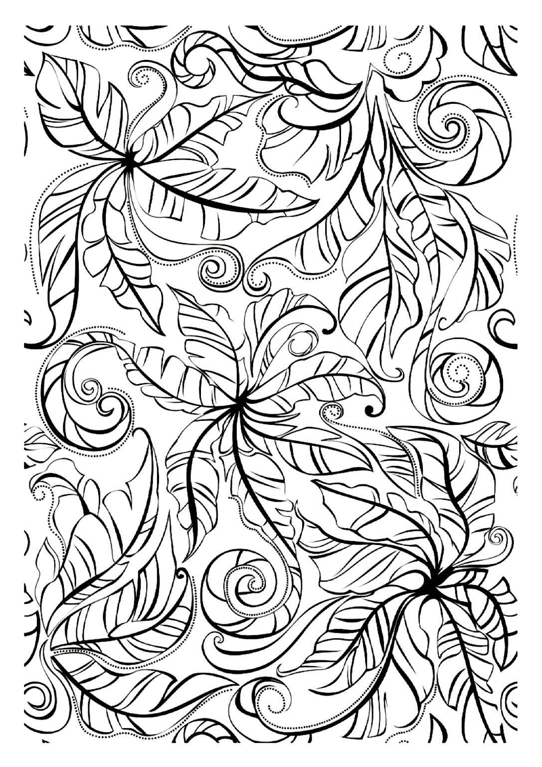 Lovely leaves - Flowers Adult Coloring Pages