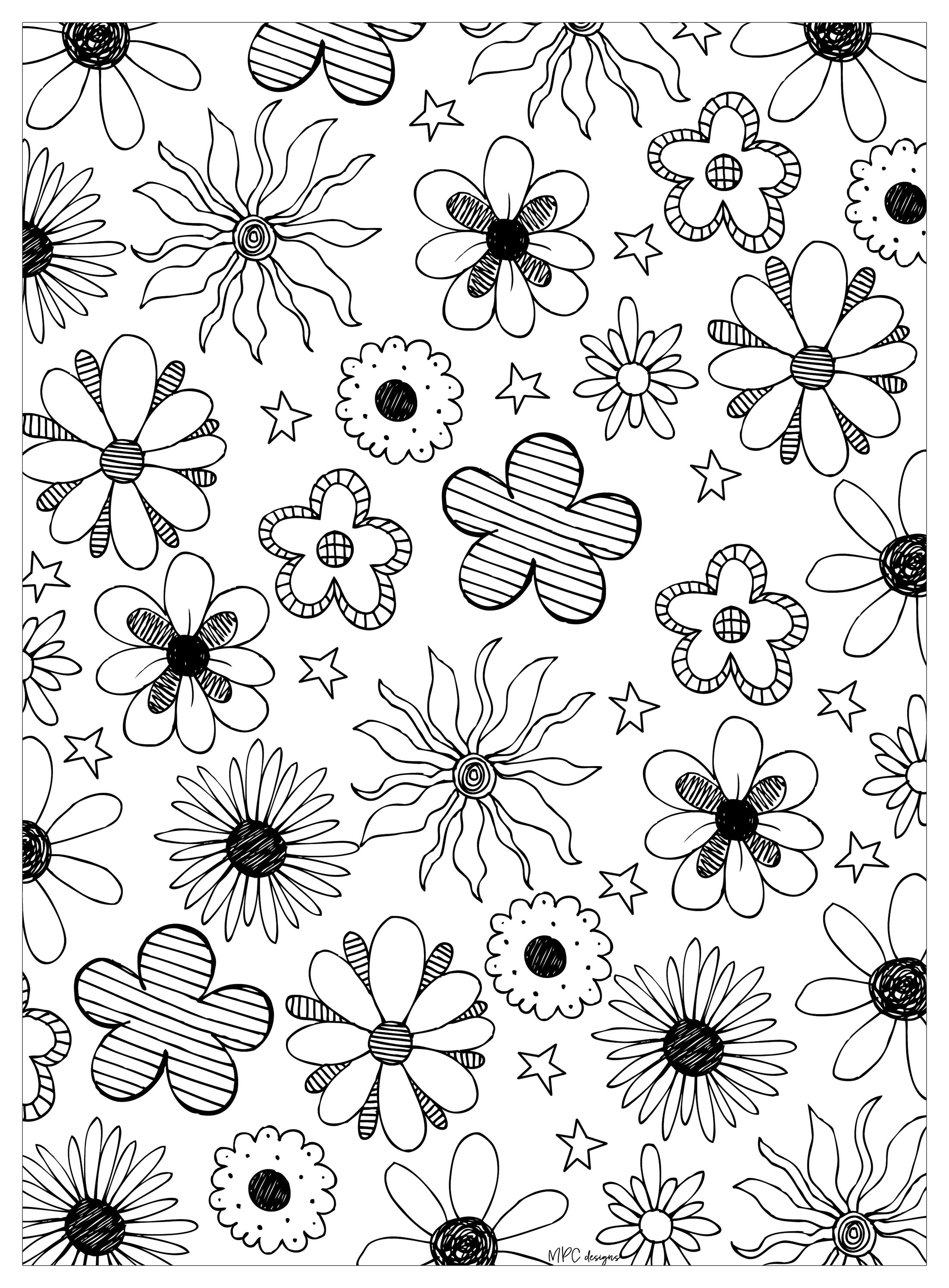 Flowers & vegetation - Coloring pages for adults | JustColor