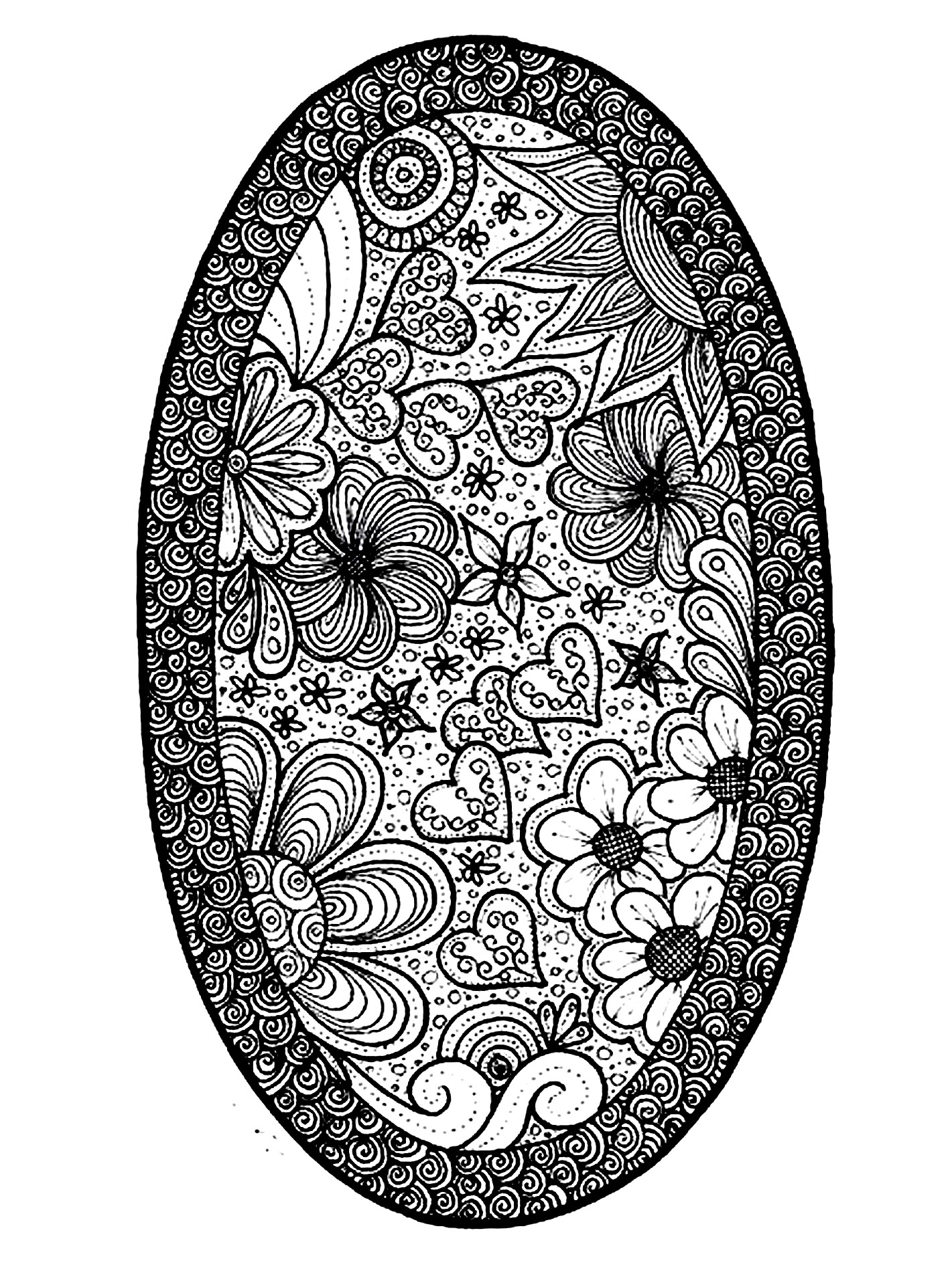 Flowers, hearts and plant elements in an oval shape