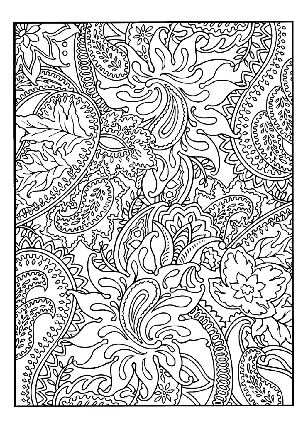 Drawing to colour full of flowers & leaves | From the gallery : Flowers And Vegetation