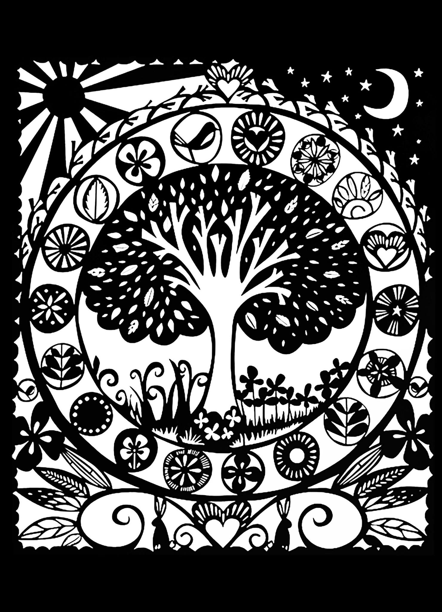 Tree Black White Flowers Adult Coloring Pages Page 2