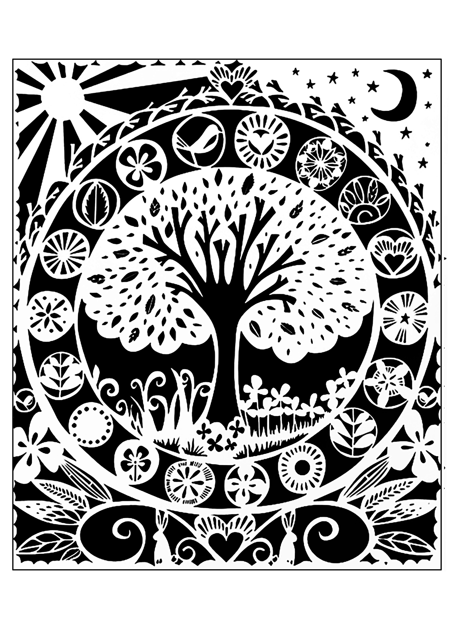 tree white black 2 flowers and vegetation coloring pages for