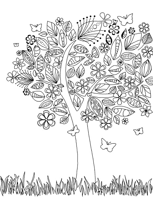 Drawing of a tree with strange and different leaves to color