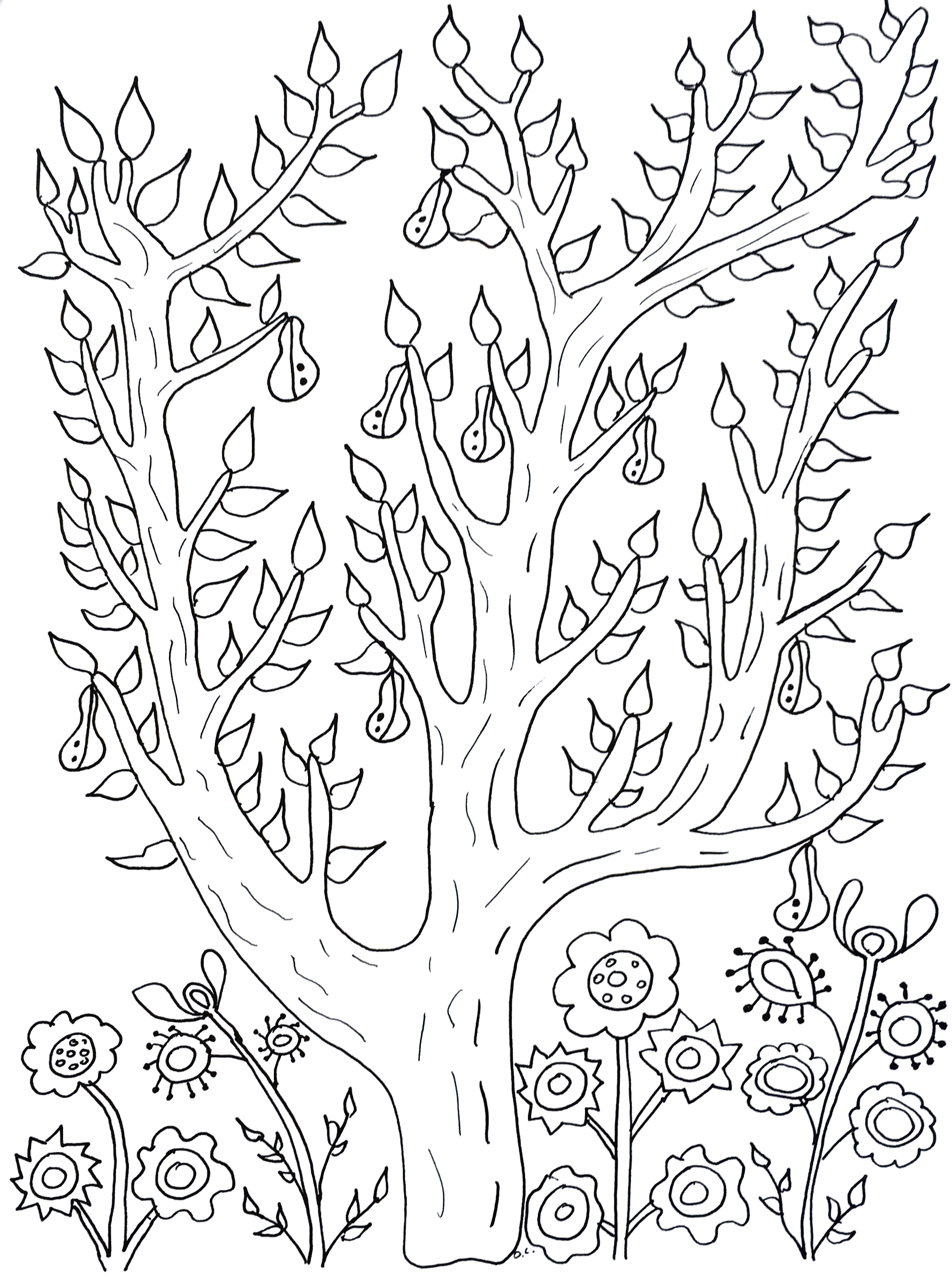 Coloring pages for adults tree - Cute Tree With Leaves And Pears From The Gallery Flowers And Vegetation Artist