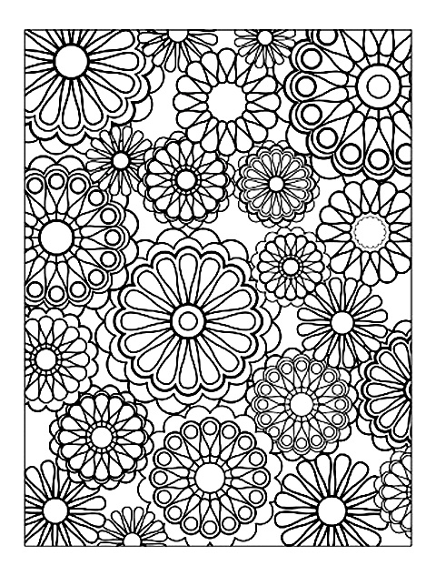Drawing composed of several mandalas of various sizes, representing flowers with totally symmetrical petals