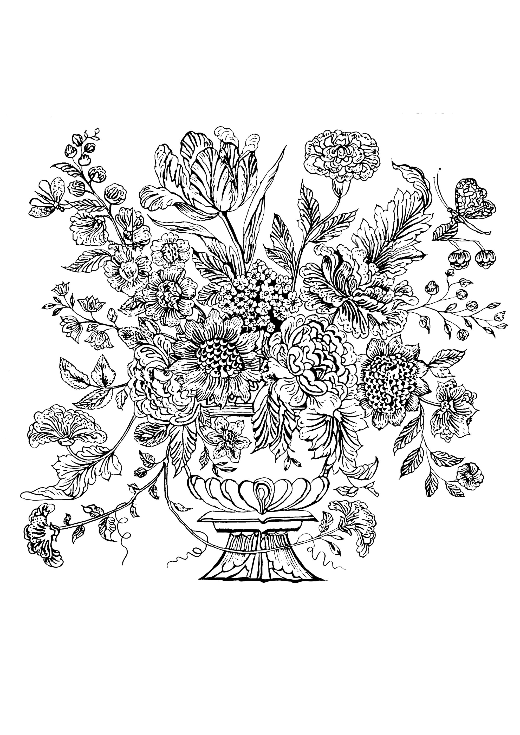 Coloring page inspired by a Mural Tile of 1740 from Netherlands, with a Flowered vase