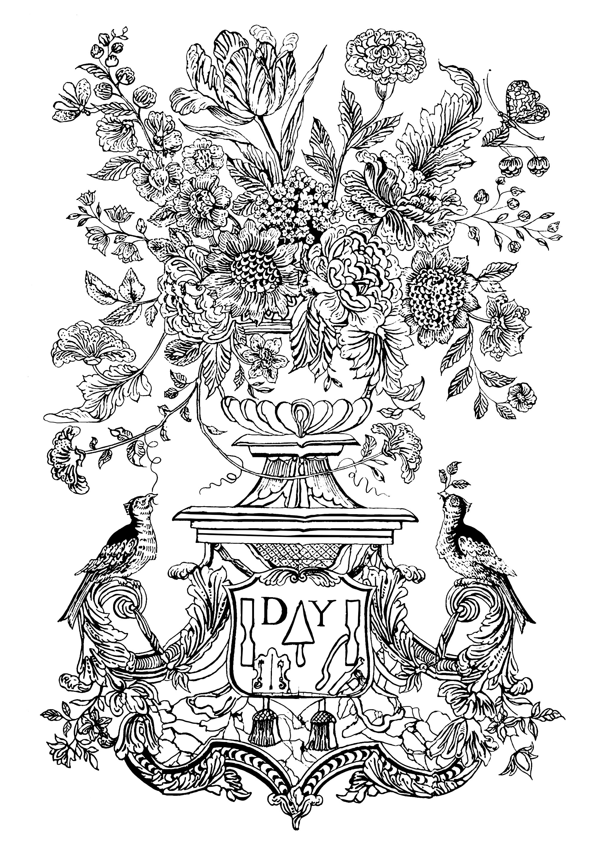 Flower vase and birds 1740 mural tile - Flowers Adult Coloring Pages