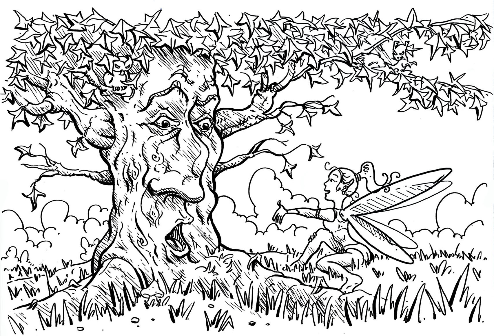 The tree that speaks with the fairy - Flowers Adult Coloring Pages