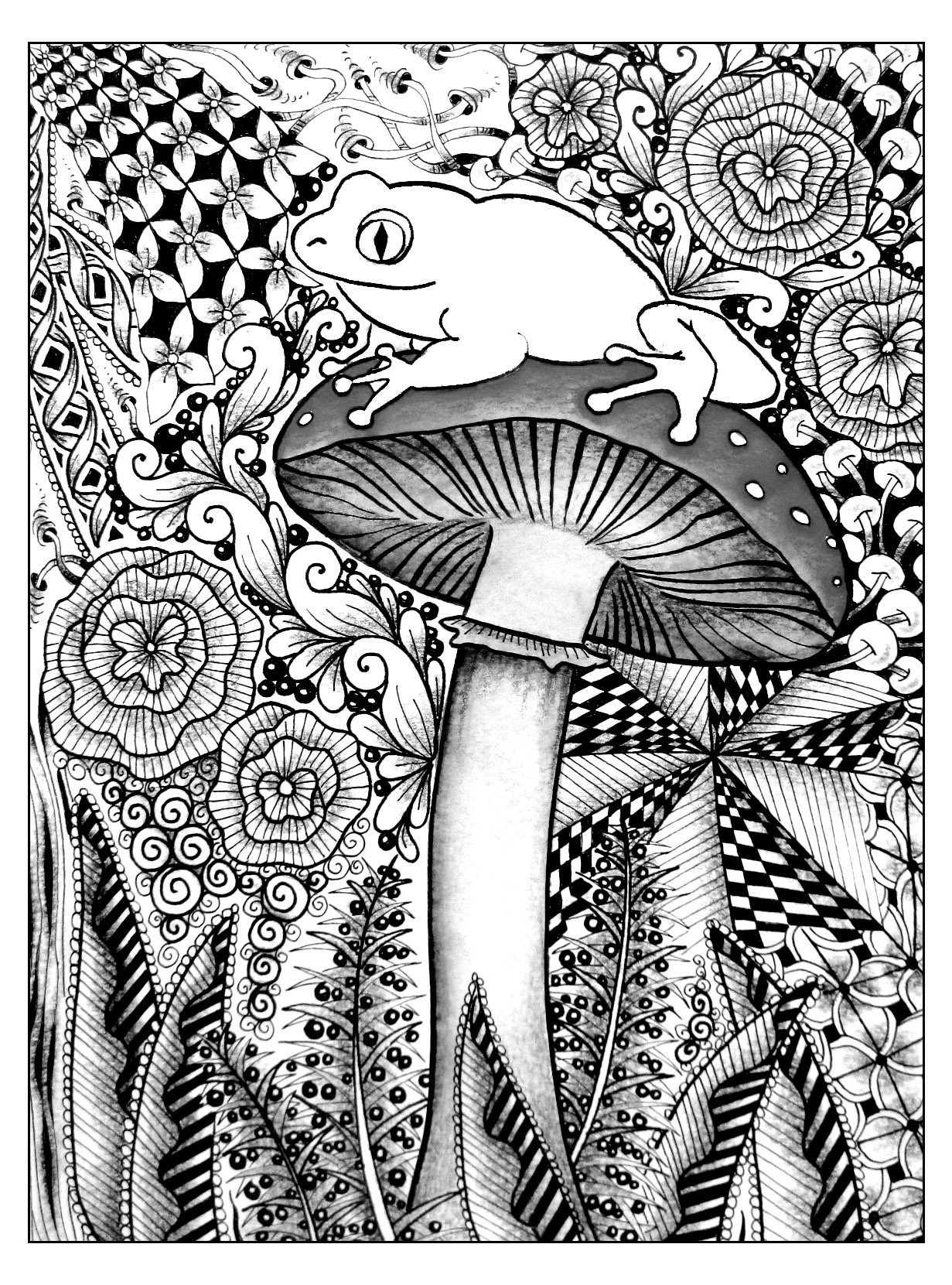 Frog On A Mushroom Flowers Adult Coloring Pages