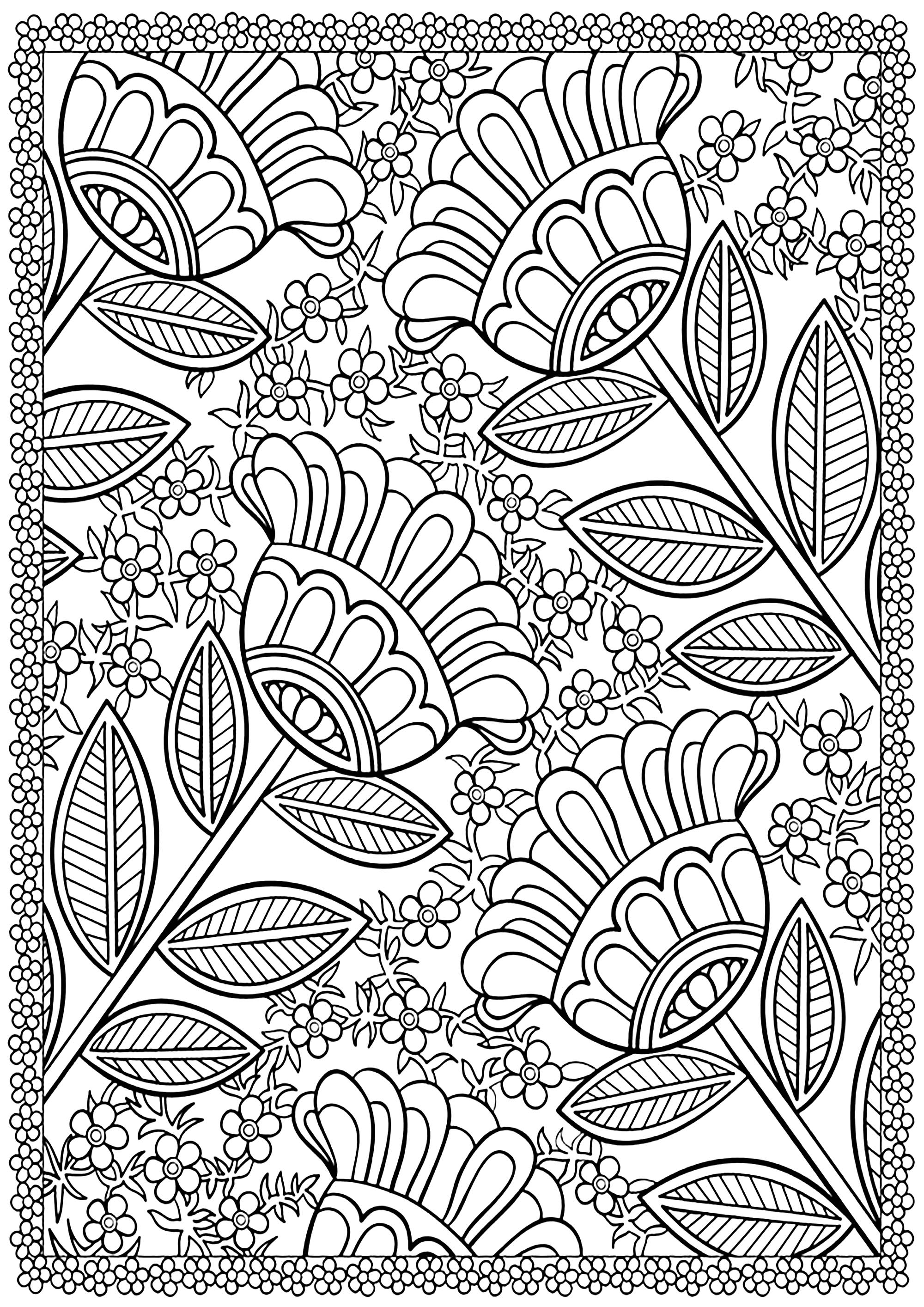 Four big flowers - Flowers Adult Coloring Pages