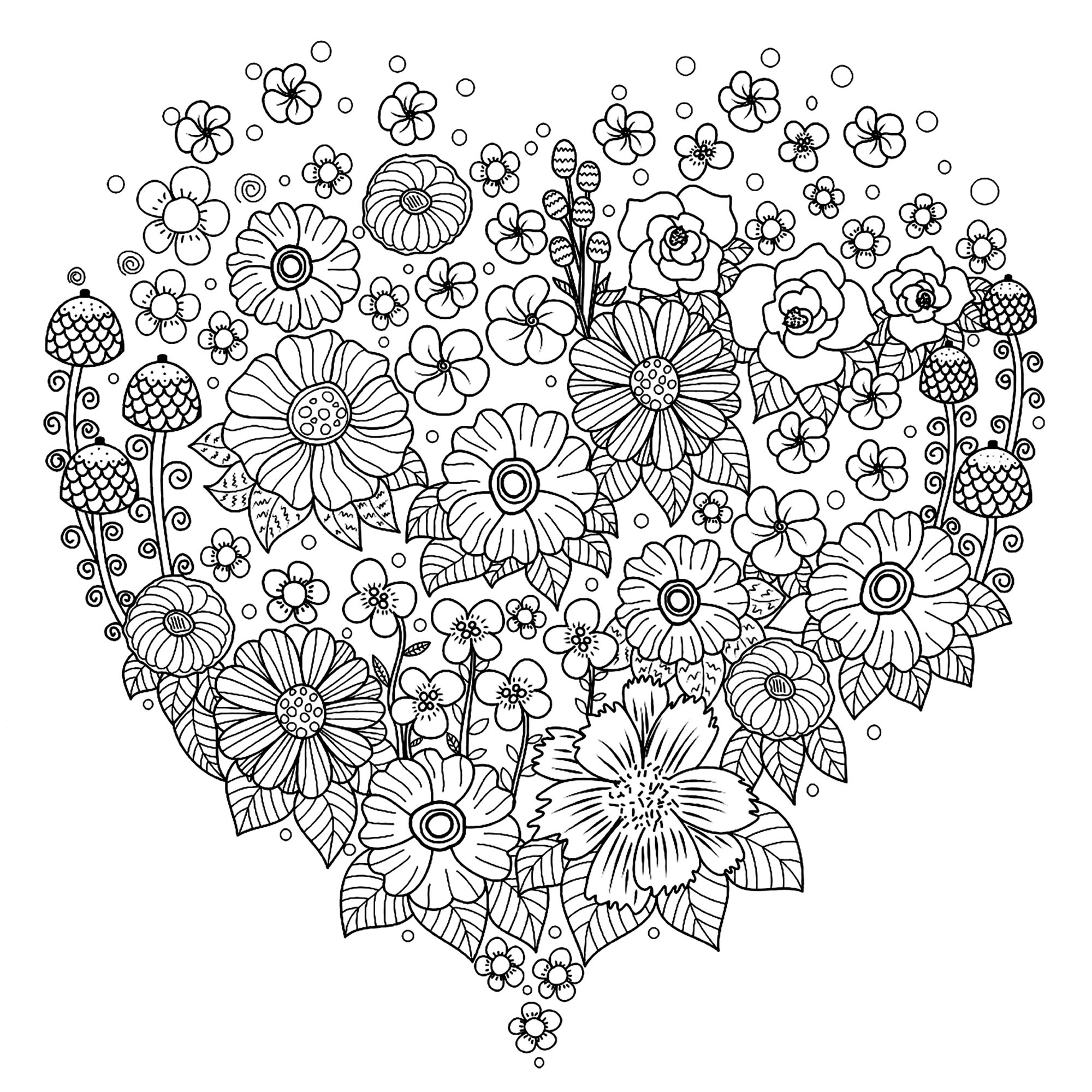 Heart with flowers - Flowers Adult Coloring Pages
