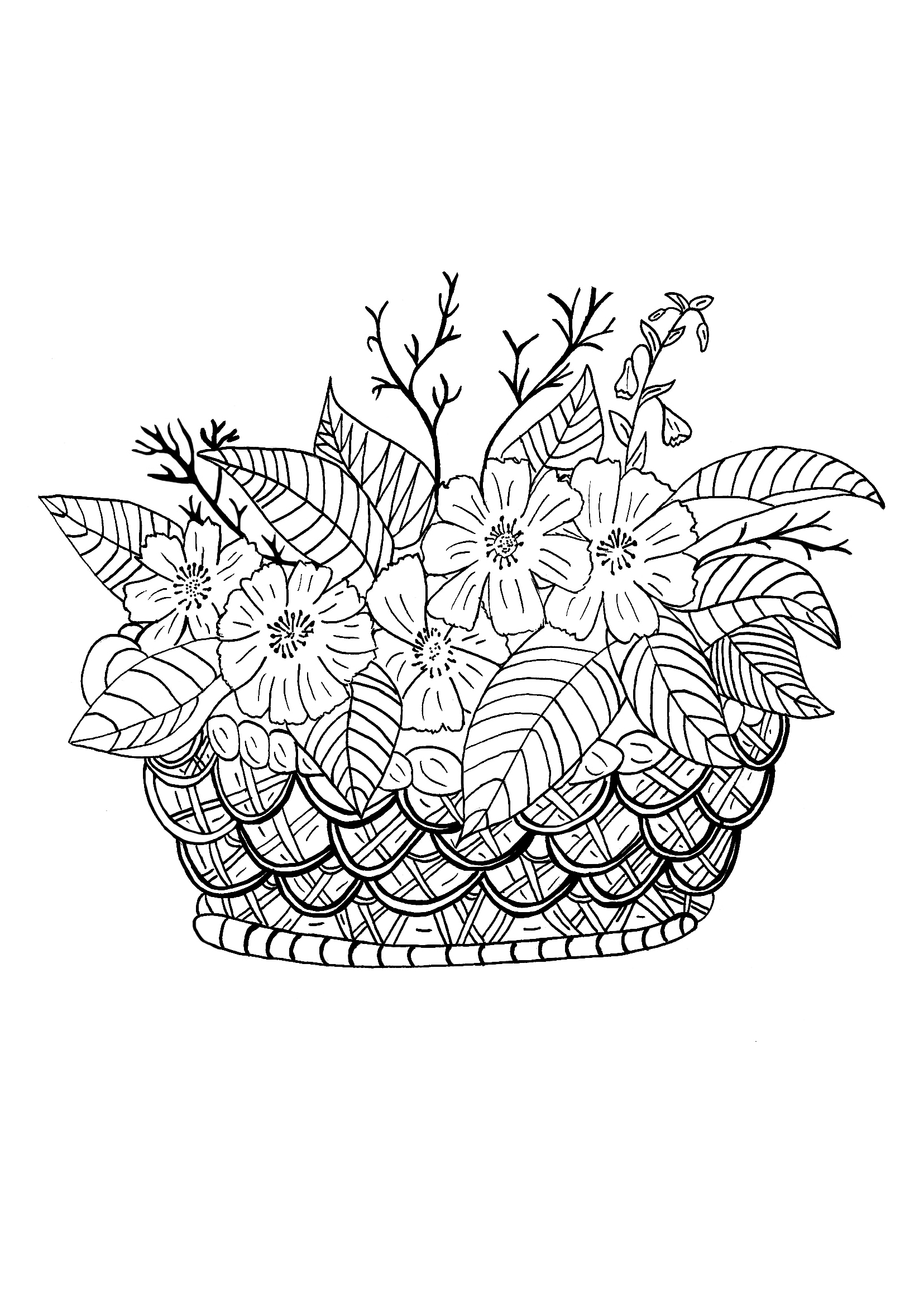 A basket, some flowers and a good moment for a coloring page.