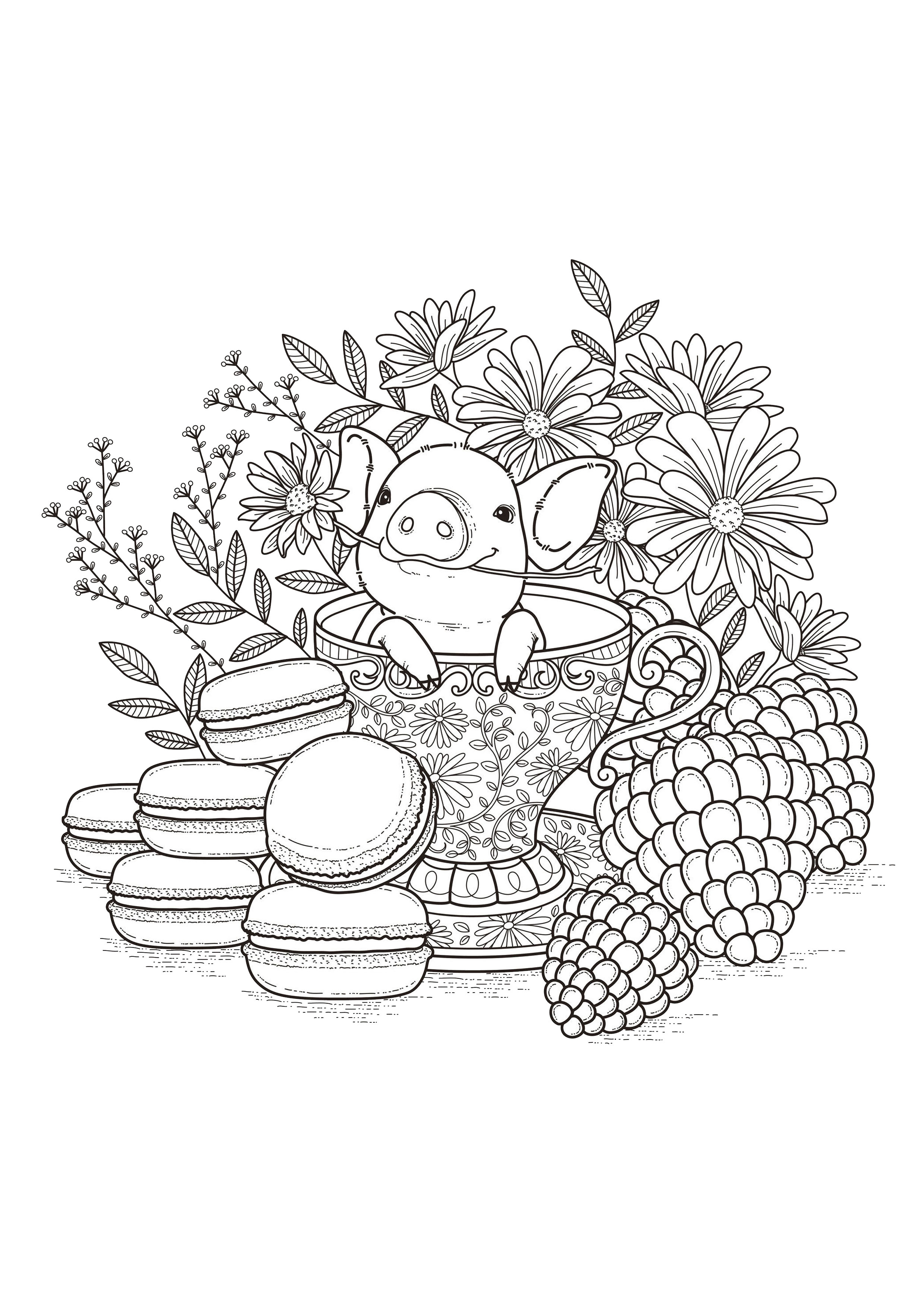 Fruits Macaroons Flowers Adult Coloring Pages Page 3
