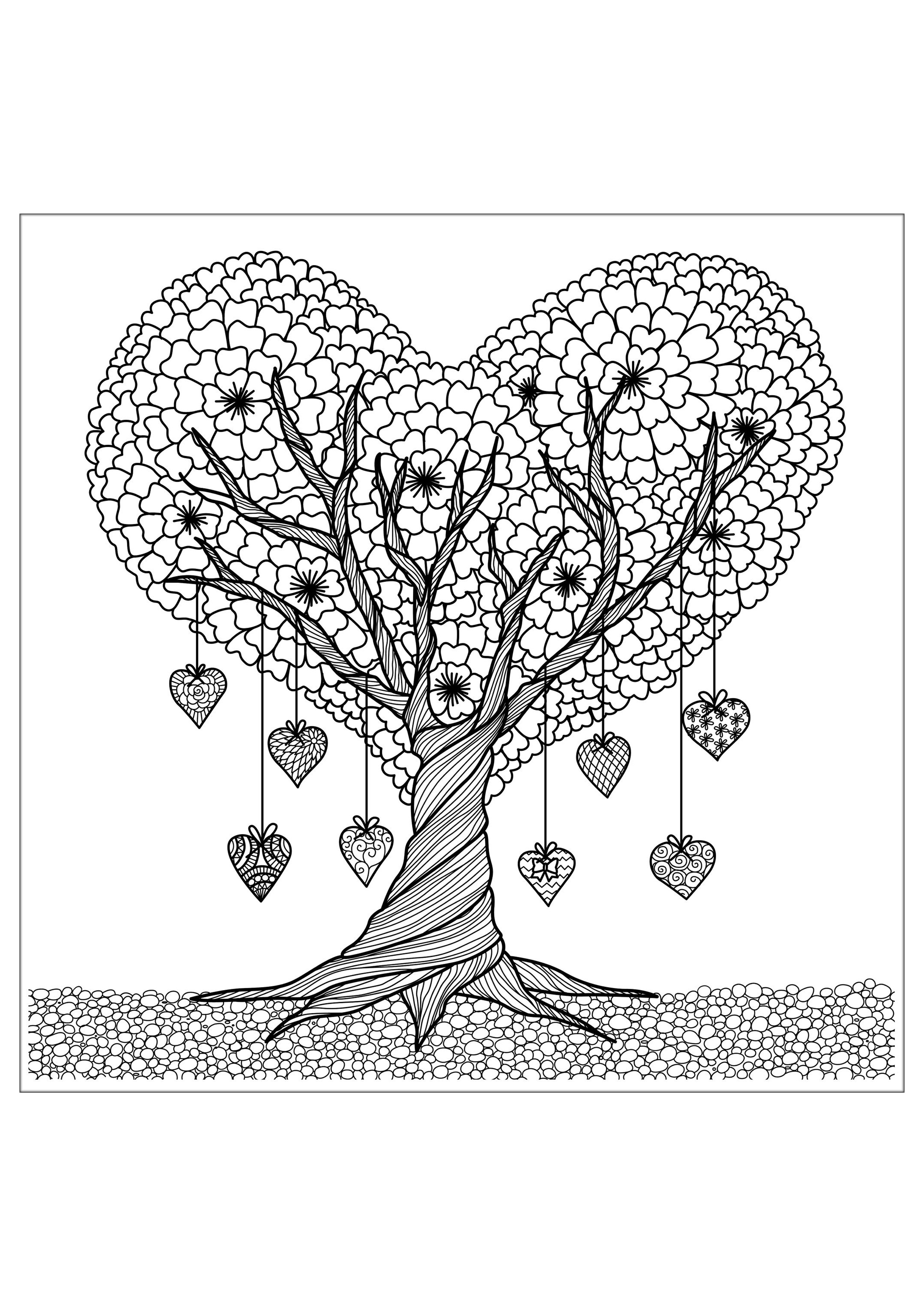 Tree Details Flowers Adult Coloring Pages
