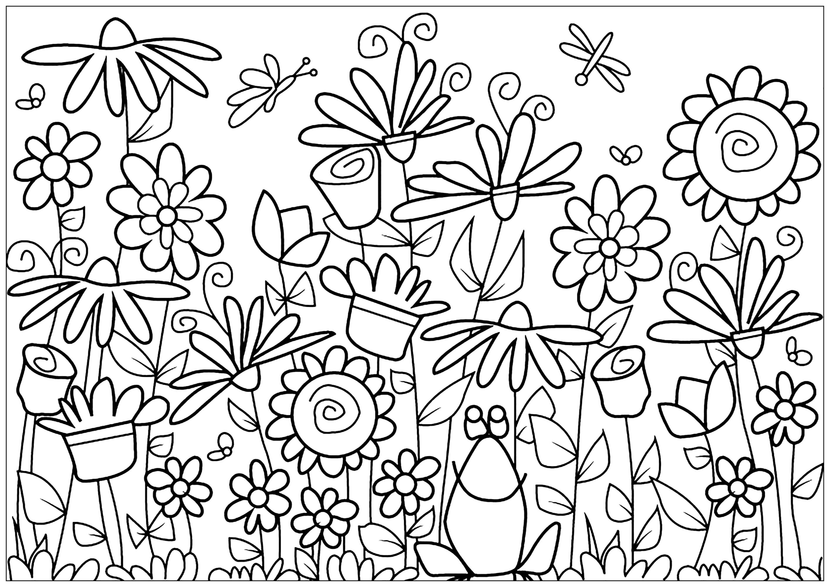 Coloring page with giant sunflowers, butterflies, daisies and tulips surrounding a frog